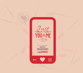 happy valentine with phone message of love