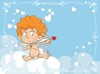 Cupid Shooting Love Arrows Vector Cartoon