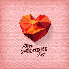 happy valentines day with geometrical heart
