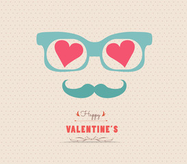 Happy Valentine's day postcard with hipster