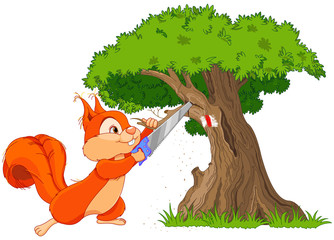 Funny squirrel saws branch