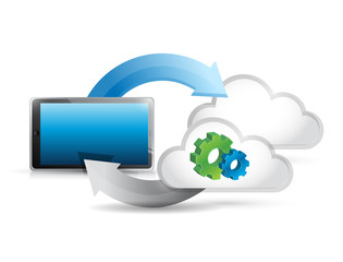tablet cycle clouds and gears illustration design