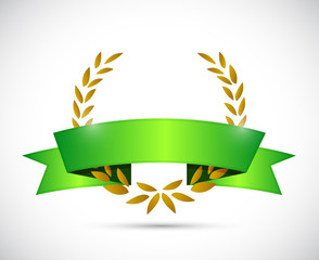 gold laurel and green ribbon. illustration design