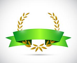 gold laurel and green ribbon. illustration design
