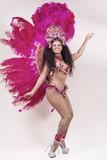 Samba dancer wearing pink costume