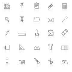 Stationery line icons with reflect on white background