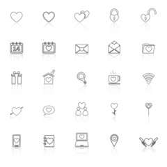 Love line icons with reflect on white background