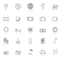 Travel line icons with reflect on white background