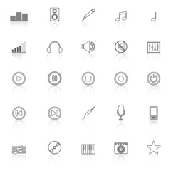 Music line icons with reflect on white background