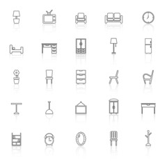 Furniture line icons with reflect on white background