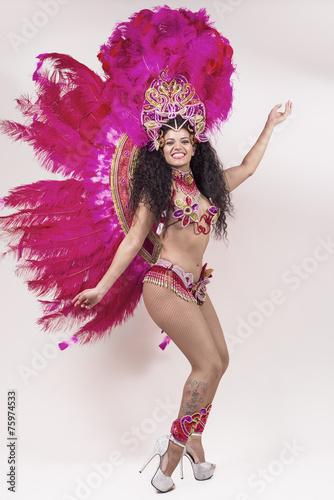 Obraz na Szkle Samba dancer wearing pink costume