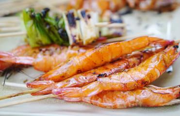 Grilled prawns stick