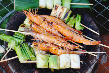 Grilled prawns stick