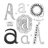 Fototapety Vector hand drawn alphabet