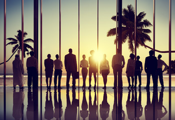 Back Lit Business People Corporate Summer Togetherness Concept