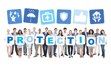 Protection Business People Teamwork Success Strategy Concept