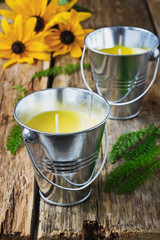 yellow fragrant candles