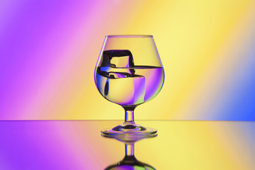 Wineglass with water and ice