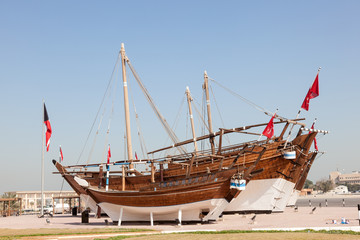 Historic dhow ships at Maritime Museum of Kuwait