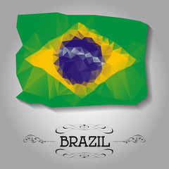 Vector geometric polygonal Brazil flag.