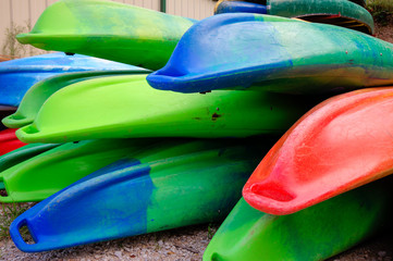 Multi-colored kayaks