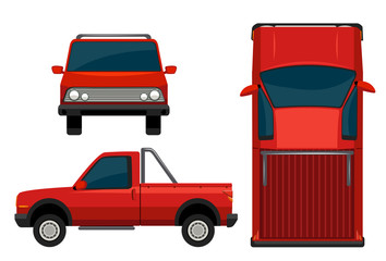 A red vehicle