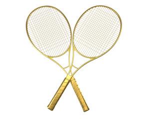 Gold tennis rackquets crossed.