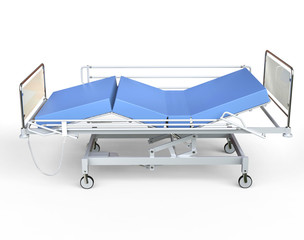 Hospital bed with blue bedding - top view