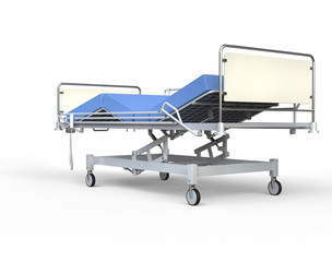 Hospital bed with blue bedding - rear view