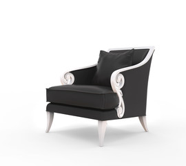 Black armchair with white armrests