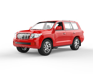 Red SUV isolated on white background