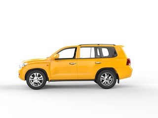 Yellow SUV isolated on white background