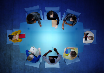 Aerial View Business People Community Meeting Teamwork Concept