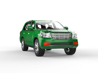 Green SUV isolated on white background