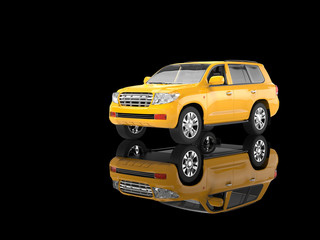Yellow SUV isolated on black background