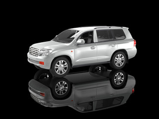 Silver SUV isolated on black background