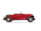 Red vintage covertible car - side view poster