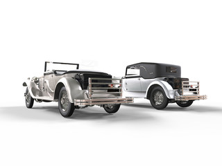 Silver vintage cars - rear view