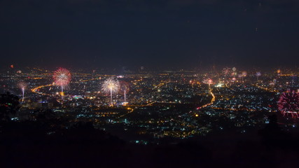 Time Lapse New Year Celebration Fireworks Over City Of ChiangMai