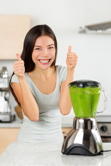 Vegetable smoothie woman happy thumbs up