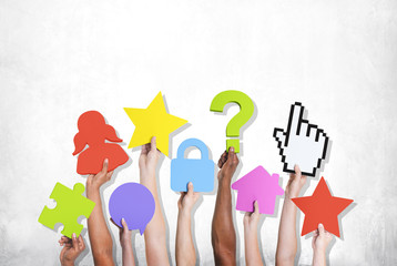 Group Hands Holding Various Symbols Social Networking Concept