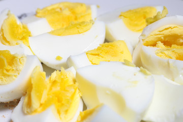 slices of boiled egg as an element of food