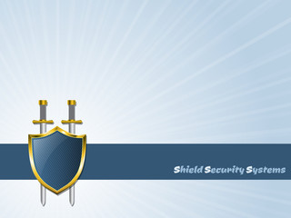 Blue striped shield with two swords icon design