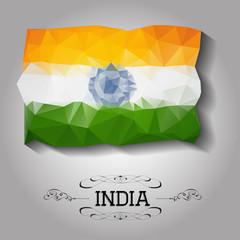 Vector geometric polygonal India flag.