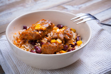 Mexican chicken bites with rice