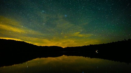 Stars Reflecting on Calm Water 4K - Time Lapse