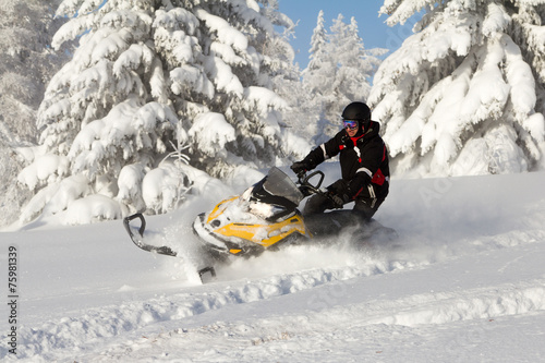 Staande foto Motorsport Athlete on a snowmobile