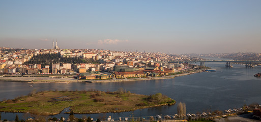 Istanbul from Eyüp cemetery and golden horn, Turkey