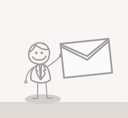 Funny Doodle : business man mail