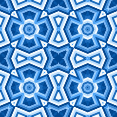 Paterned floor tiles in blue colors - vector illustration